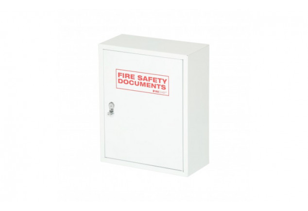 White Metal Fire Document Cabinet - Seal Latch