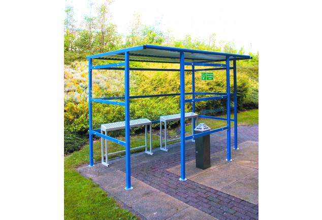 Smoking Shelter 12 Person - Perspex Back Panel