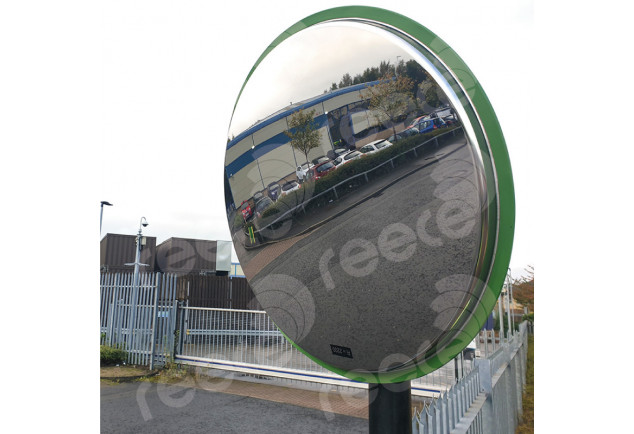 Stainless Steel Safety Mirror Pole Mounted 600mm - Green