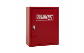 Red Metal Fire Document Cabinet - Seal Latch