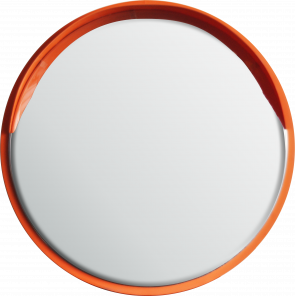 Round Safety Mirror Wall Mounted 600mm - Orange