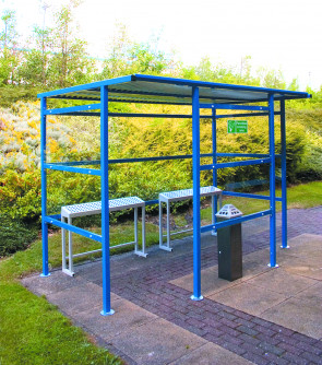Smoking Shelter 7 Person - Perspex Back Panel