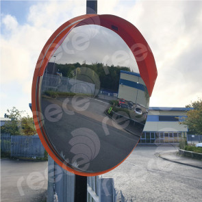 Stainless Steel Safety Mirror Pole Mounted 600mm - Orange