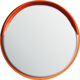 Round Safety Mirror Wall Mounted 800mm - Orange